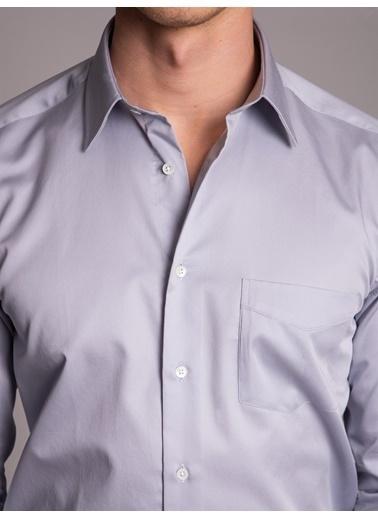 Dufy Grı Pamuklu Saten Klasık Erkek Gömlek - Regular Fıt Gri